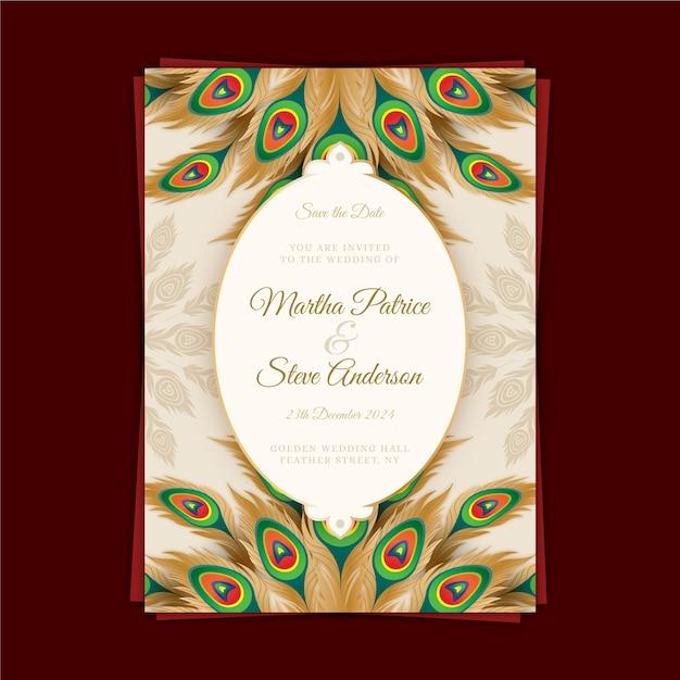 Szablon Zaproszenia ślubne Z Kolorowych Piór Pawia Darmowych Wektorów