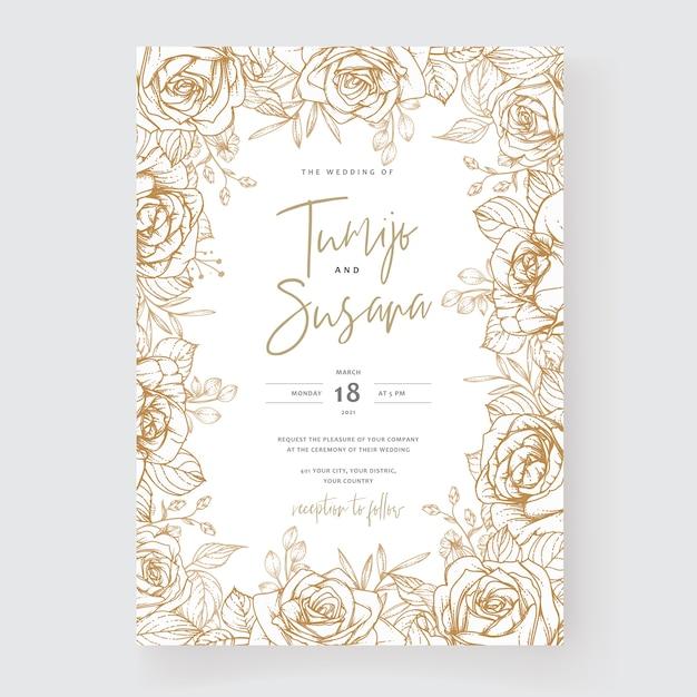 Szablon Zaproszenia ślubne Z Kwiatami Premium Wektorów