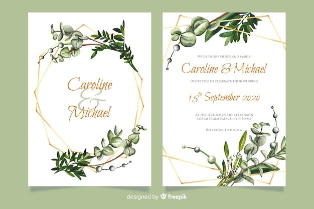 Szablon Zaproszenia ślubne Z Kwiatami Darmowych Wektorów
