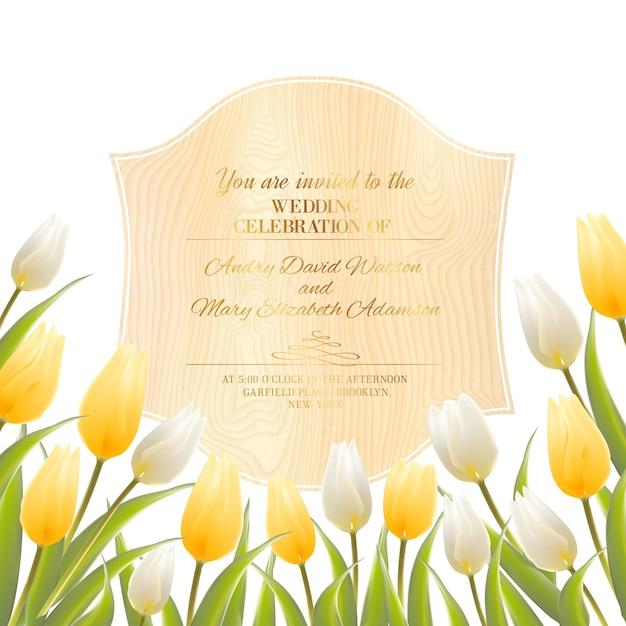 Szablon Zaproszenia ślubne Z Kwitnących Tulipanów. Darmowych Wektorów