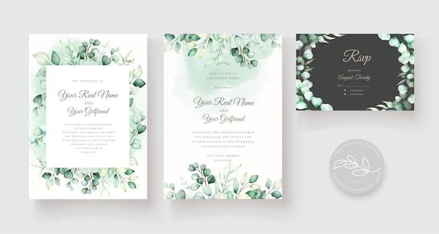 Szablon Zaproszenia ślubne Z Liści Eukaliptusa Darmowych Wektorów