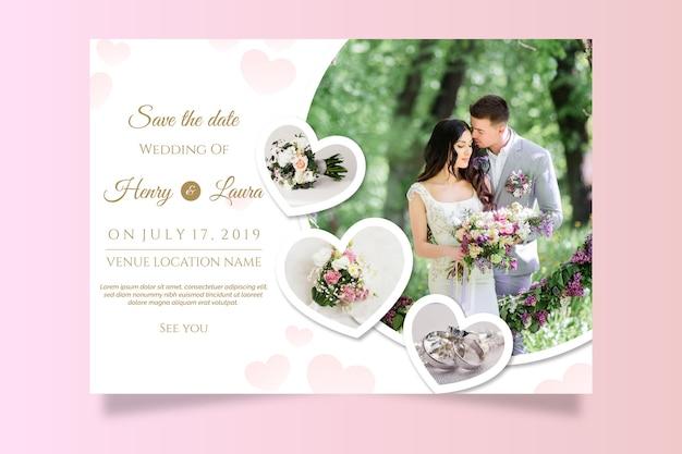 Szablon Zaproszenia ślubne Z Obrazem Darmowych Wektorów