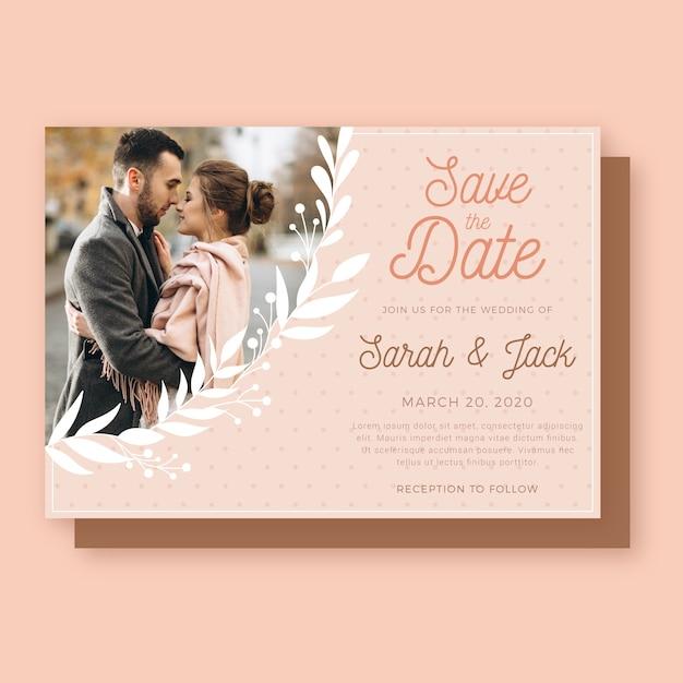 Szablon Zaproszenia ślubne Z Parą Darmowych Wektorów