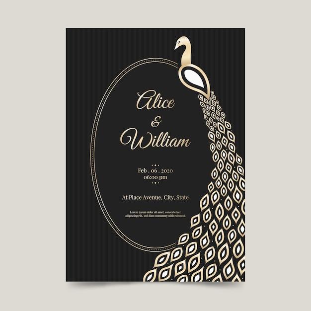 Szablon Zaproszenia ślubne Z Pawia Darmowych Wektorów