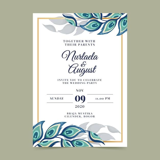 Szablon Zaproszenia ślubne Z Pawich Piór Darmowych Wektorów