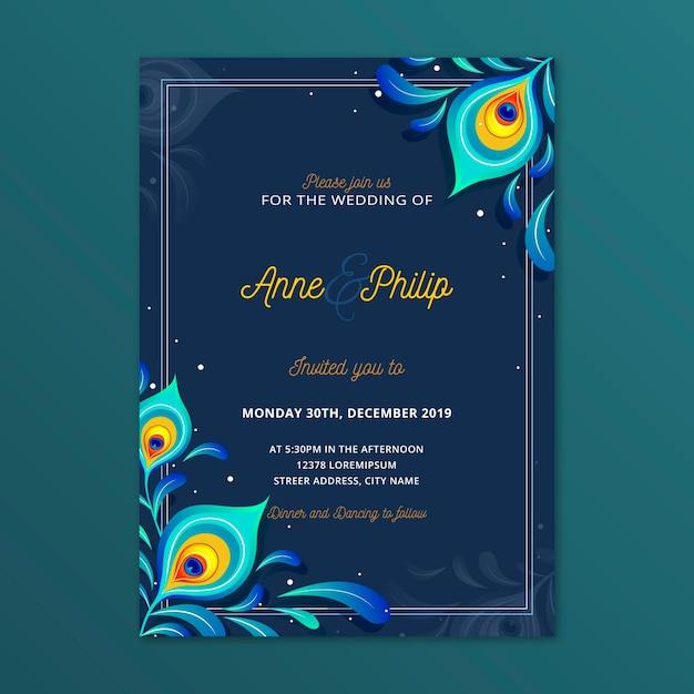 Szablon Zaproszenia ślubne Z Pawich Piór Premium Wektorów