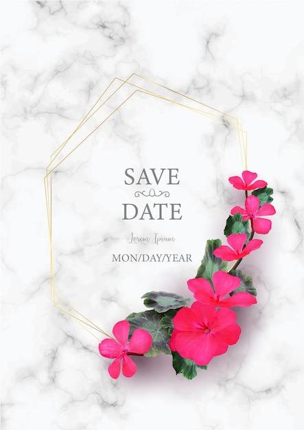 Szablon Zaproszenia ślubne Z Realistycznym Piękny Różowy Kwiat Na Białym Marmurze Premium Wektorów