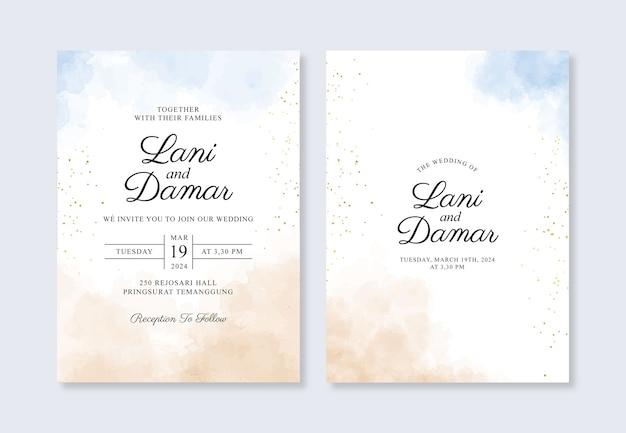Szablon Zaproszenia ślubne Z Ręcznie Malowanymi Akwarelami Premium Wektorów