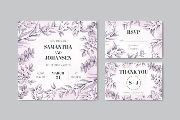 Szablon Zaproszenia ślubne Z Ręcznie Rysowane Liście Zestaw Ramek Pakiet Premium Wektorów