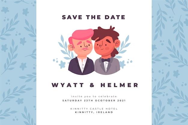 Szablon zaproszenia ślubne z rysunkiem Darmowych Wektorów