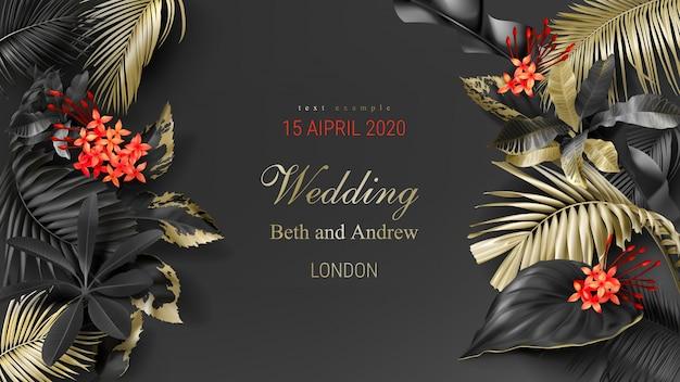 Szablon zaproszenia ślubne z tropikalnych liści czarny i złoty Darmowych Wektorów
