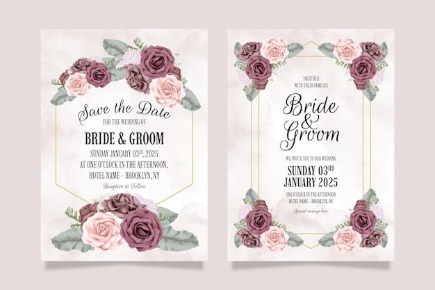 Szablon Zaproszenia ślubne Z Zakurzonymi Różami Akwarela Pozostawia Koncepcję Dekoracji Premium Wektorów