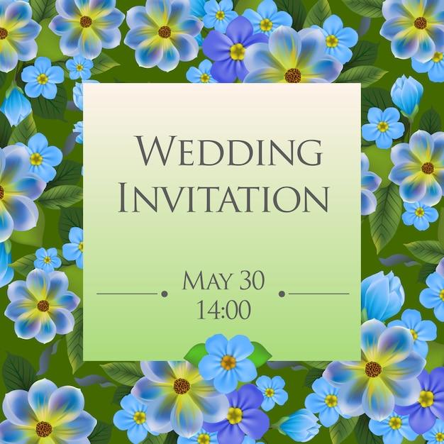 Szablon zaproszenia ślubne z zapomnieć mi nots w tle. Darmowych Wektorów