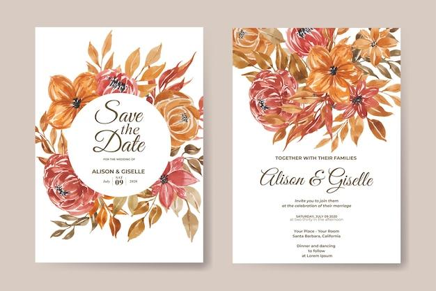 Szablon Zaproszenia ślubne Z Zestawem Akwarela Kwiat Premium Wektorów