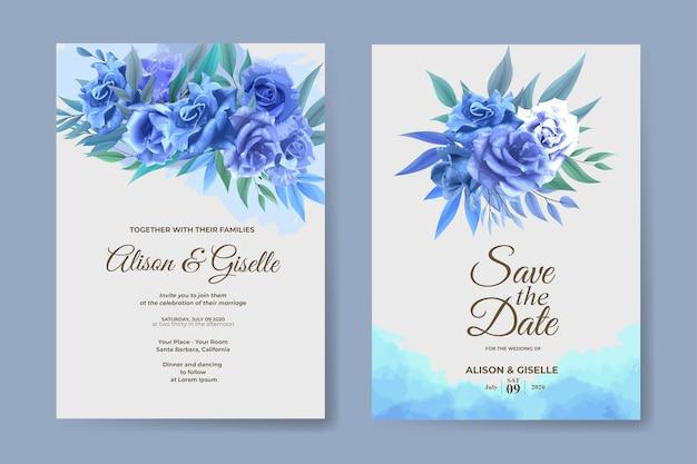 Szablon Zaproszenia ślubne Z Zestawem Niebieski Kwiat Róży Premium Wektorów