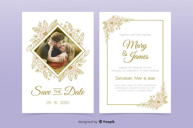 Szablon zaproszenia ślubne ze zdjęciem Darmowych Wektorów