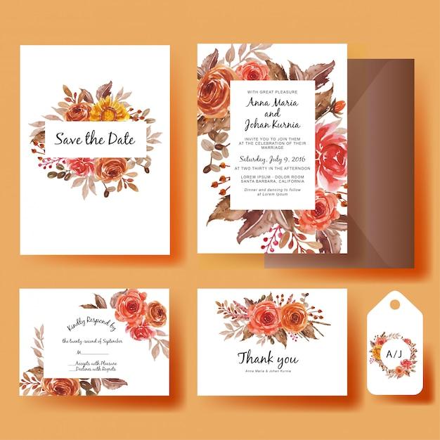 Szablon zaproszenia ślubne zestaw akwarela kwiaty słonecznika i róż jesień Premium Wektorów