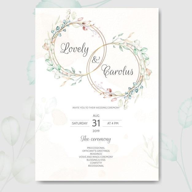 Szablon Zaproszenia ślubne Zestaw Szablonu Z Piękną Akwarelą Kwiatowy I Liści Premium Wektorów