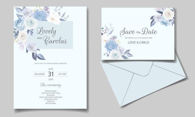 Szablon Zaproszenia ślubne Zestaw Szablonu Z Piękną Ramą Kwiatowy Premium Wektorów