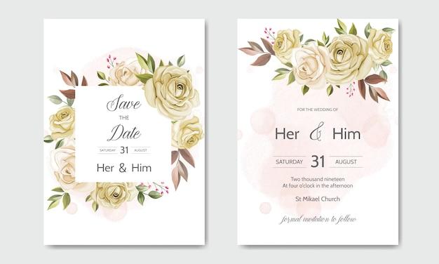 Szablon zaproszenia ślubne zestaw z pięknymi liśćmi kwiatów Premium Wektorów