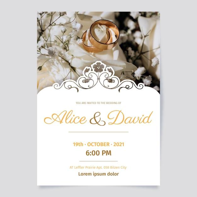 Szablon Zaproszenia ślubne Darmowych Wektorów