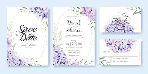 Szablon zaproszenia ślubne Premium Wektorów