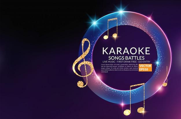 Szablon zaproszenia strony karaoke. ulotka nocna karaoke. koncert głosu muzycznego. Premium Wektorów