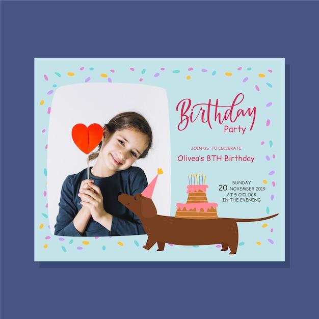Szablon zaproszenia urodzinowe dla dzieci cute girl and dog Darmowych Wektorów