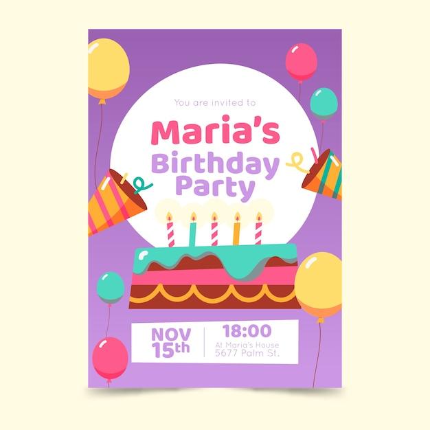 Szablon zaproszenia urodzinowe dla dzieci z ciastem Darmowych Wektorów