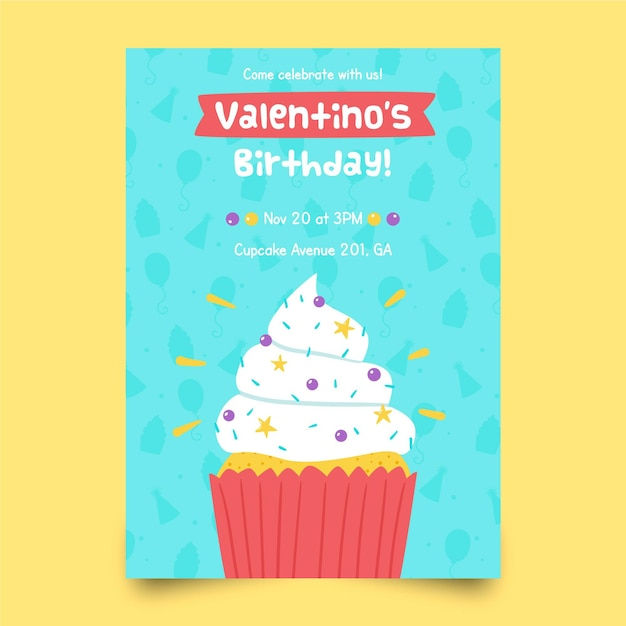 Szablon Zaproszenia Urodzinowe Dla Dzieci Z Cupcake Darmowych Wektorów