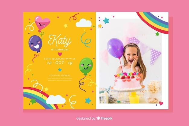 Szablon zaproszenia urodzinowe dla dzieci ze zdjęciem Darmowych Wektorów