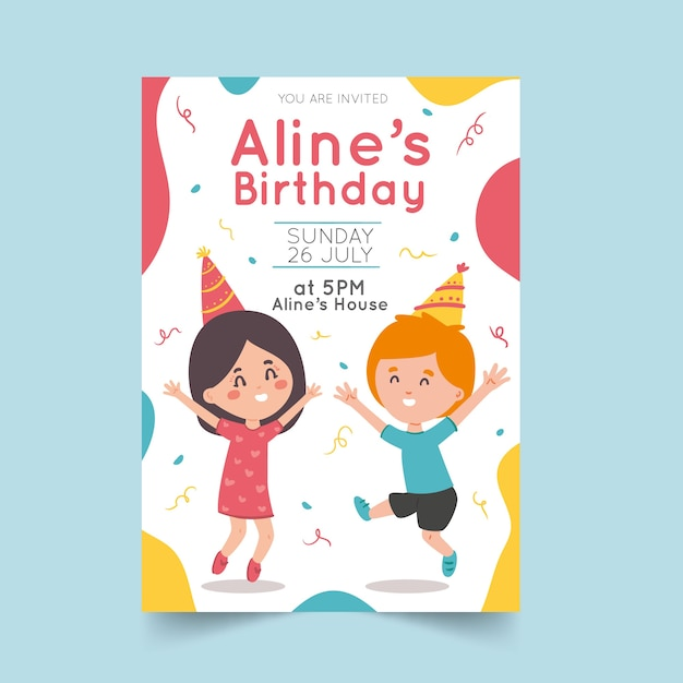 Szablon Zaproszenia Urodzinowe Dla Dzieci Darmowych Wektorów