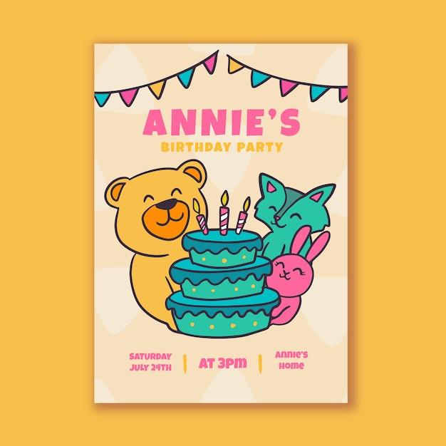 Szablon Zaproszenia Urodzinowe Dzieci Darmowych Wektorów