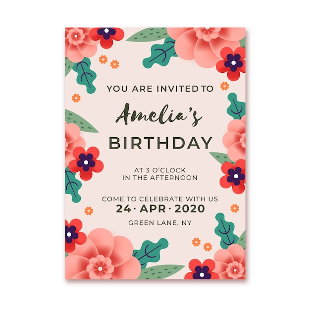 Szablon Zaproszenia Urodzinowe Kwiatowy Darmowych Wektorów