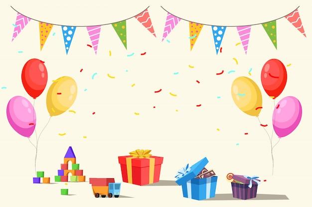 Szablon Zaproszenia Urodzinowego Dla Dzieci, Zabawki, Prezenty, Balony I Flagi Premium Wektorów