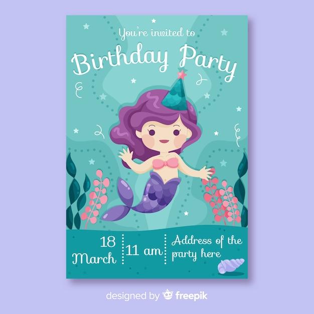 Szablon zaproszenia urodzinowego płaski kształt Darmowych Wektorów