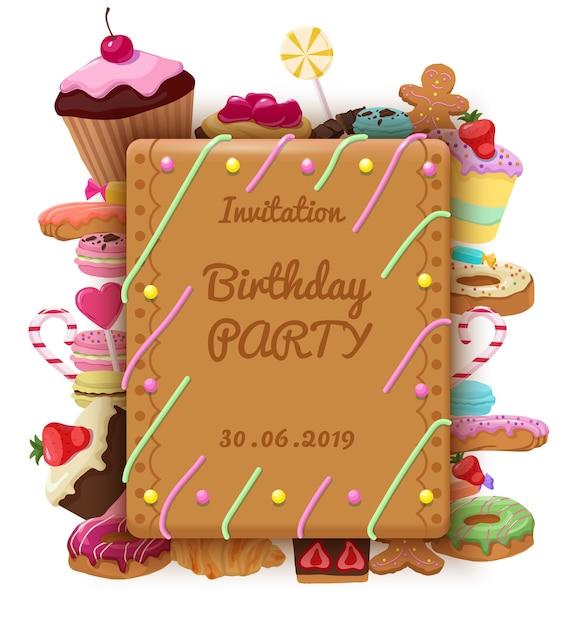 Szablon Zaproszenia Urodzinowego Z Prostokątnymi Tortami W Ramce, Makaronikami, Pączkami, Ciasteczkami, Lizakami, Rogalikami, Babeczkami I Słodkimi Produktami Darmowych Wektorów