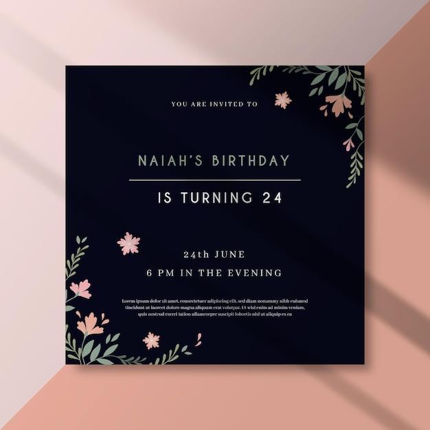Szablon Zaproszenia Urodzinowego Darmowych Wektorów