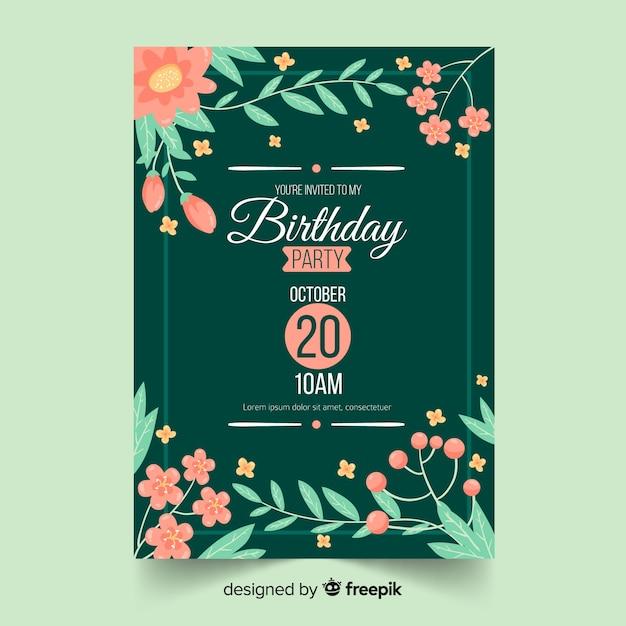 Szablon Zaproszenia Urodziny Kwiatowy W Ramce Darmowych Wektorów