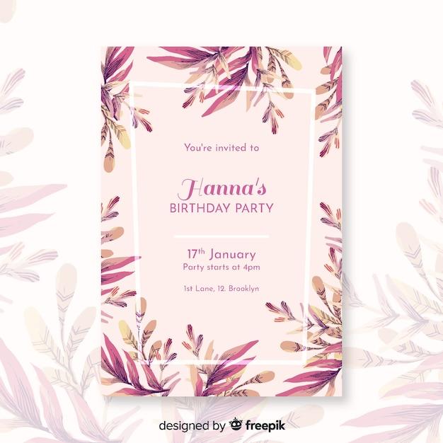 Szablon zaproszenia urodziny kwiatowy Darmowych Wektorów