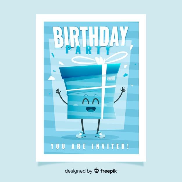 Szablon zaproszenia urodziny niebieski płaska konstrukcja ciasto Darmowych Wektorów