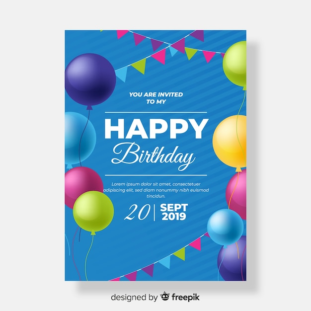 Szablon zaproszenia urodziny realistyczny styl Darmowych Wektorów