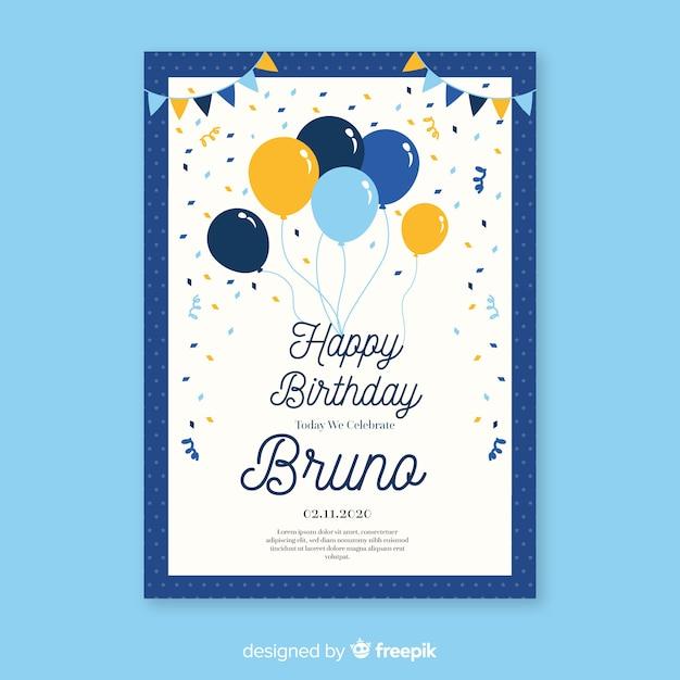 Szablon Zaproszenia Urodziny W Stylu Płaski Darmowych Wektorów