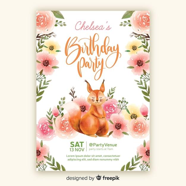 Szablon zaproszenia urodziny w stylu przypominającym akwarele Darmowych Wektorów