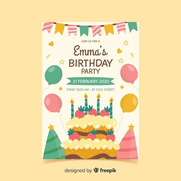 Szablon zaproszenia urodziny w stylu wyciągnąć rękę Darmowych Wektorów