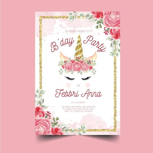 Szablon zaproszenia urodziny Premium Wektorów