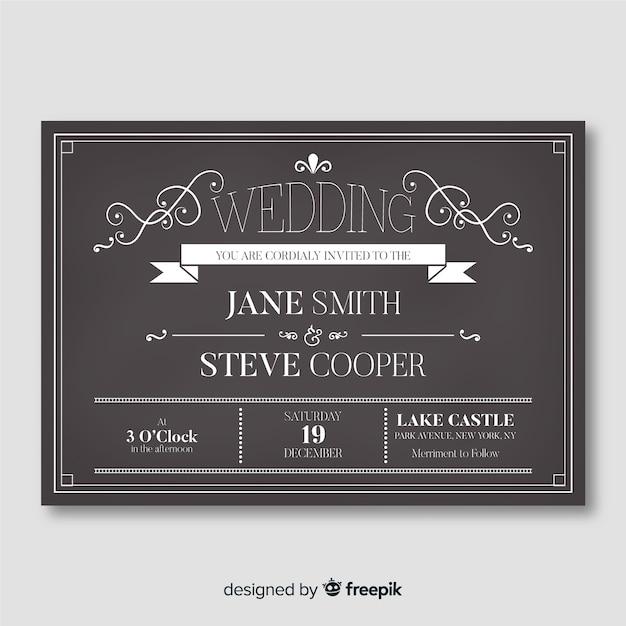 Szablon zaproszenia wesele na tablicy Darmowych Wektorów
