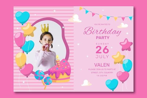 Szablon Zaproszenia Z Okazji Urodzin Darmowych Wektorów