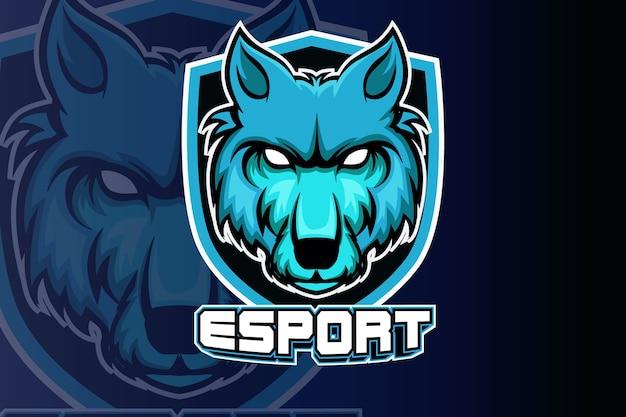 Szablon Zespołu Logo E-sport Głowy Wilków Premium Wektorów