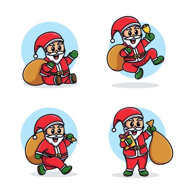 Szablon Zestaw Kreskówka Maskotka Santa Premium Wektorów